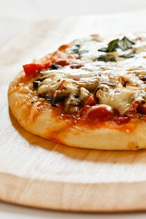 Baked all-dessed pizza Stock Photo