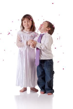 Cute little boy and girl wishing to get married Stock Photo - 18576870