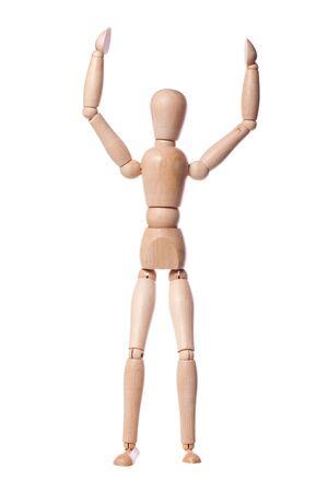 marioneta de madera: Marioneta de madera celebrando una victoria
