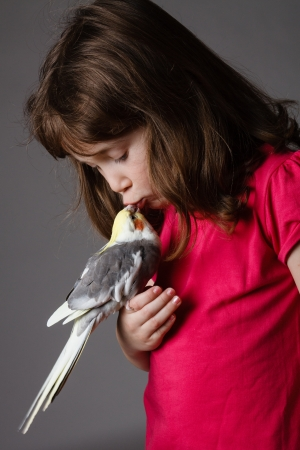 Cute little girl with a pet cockatiel in her hand