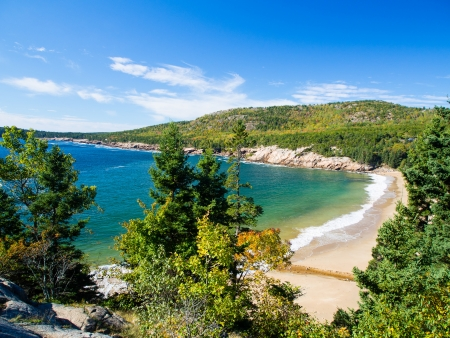 Beach in Acadia National Park in autumn