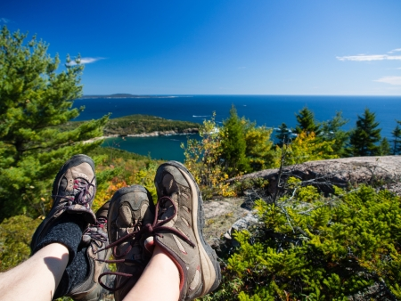 Resting at the top of a mountain in Acadia National Park