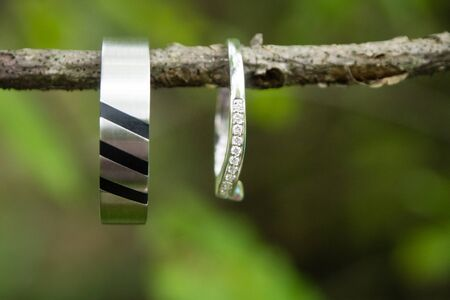 Wedding rings in the nature Stock Photo