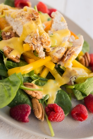 Californian Chicken Salad with raspberry and mango mayonnaise Stock Photo