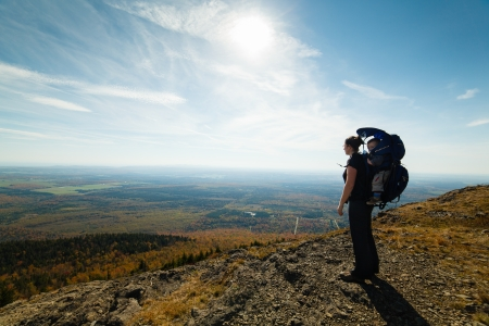 Mother and son at the top of a mountain (Mont Ham in Quebec) Stock Photo
