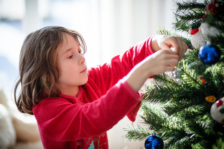decorating christmas tree: Girl decorating a Christmas tree inside a house