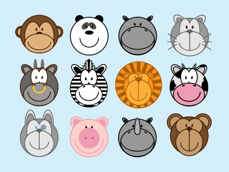 set of funny animal monkey, panda, hippo, cat, ox, zebra, lion, cow, dog, pig, rhinoceros, bear Vector