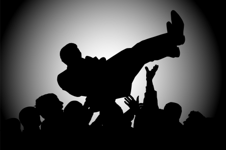 surf silhouettes: silhouette crowds man throws up