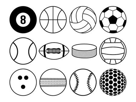 sports balls black and white Illustration