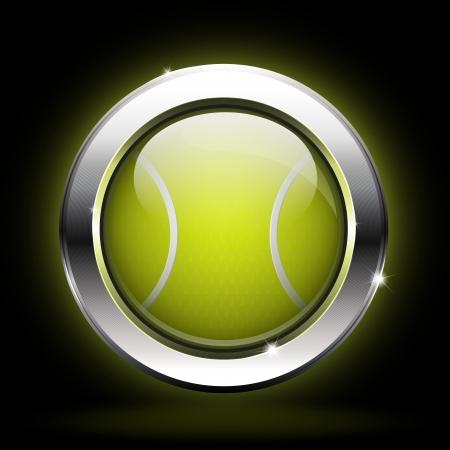 tennis racquet: icon tennis ball Illustration