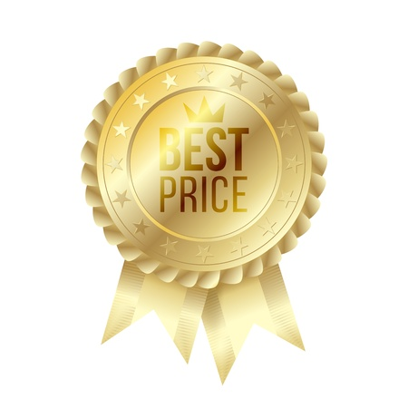 best price gold label with ribbons