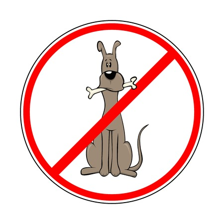no teeth smile: sign prohibiting dogs