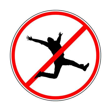 sign prohibiting jump Illustration