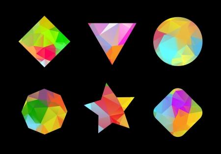 tetraedro: Set di colori geometriche forme poligonali per la progettazione. Vettoriali