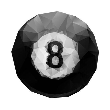 pool ball: Abstract geometric polygonal 8 ball billiards for your design.