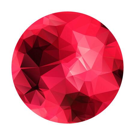 garnet: Abstract geometric polygonal red sphere. Garnet color.