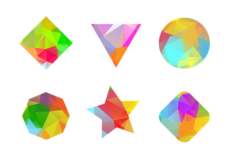 Set of colored geometric polygonal shapes for your design. Vector