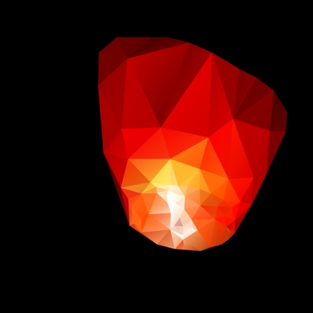 Polygonal red sky lanterns in the night sky.