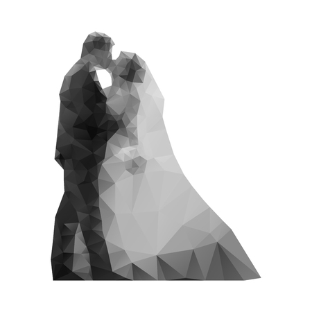 Wedding. Kiss the bride and groom abstract polygon. Vector