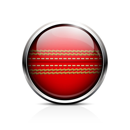 criket: Icon Ball for cricket. Glass shiny button-ball cricket.  Illustration