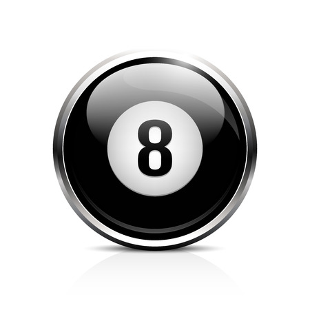 Icon ball for billiards. Glass shiny button 8 ball billiards. Vector