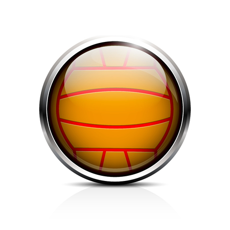 Icon Ball for water polo. Glass shiny button to play ball in water polo.  Vector