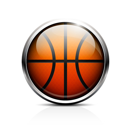 Icon basketball. Glass shiny button basketball.  Vector