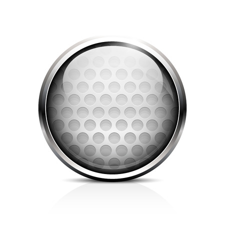 Icon of a golf ball. Glass shiny button ball for golf.  Vector