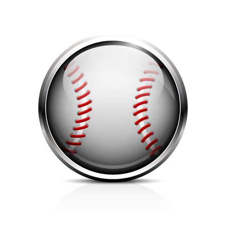 Icon of baseball. Glass shiny button for the game of baseball.  Vector
