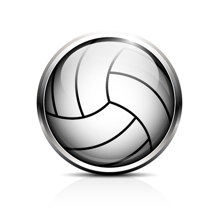 Icon volleyball. Glass shiny button volleyball ball.  Vector