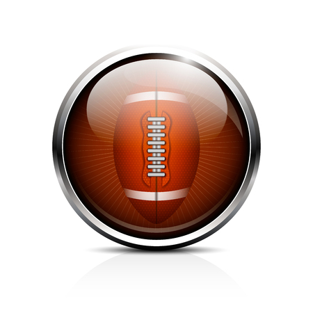 Icon rugby ball. Glass shiny button ball for American football