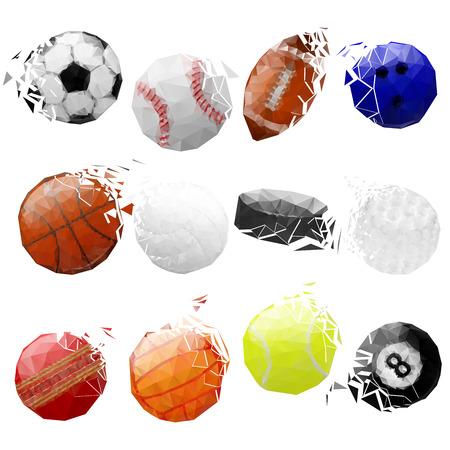fragmented: Set of sport balls crashed.