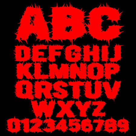 Vector set of red studded scary alphabet Illustration