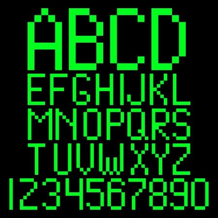 Pixel alphabet. Green computer letters Stock Vector - 23902167