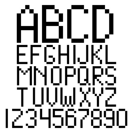 Pixel alphabet and numbers vector Vector