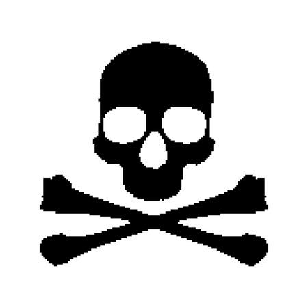 Pixel skull and bones Vector
