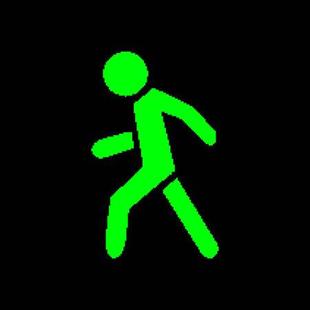 pedestrian walkway: Pixel symbol pedestrian green on a black background Illustration