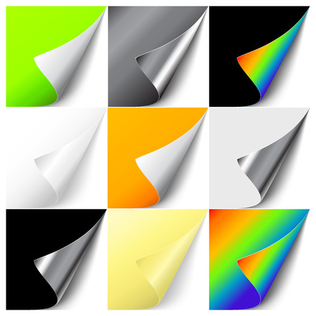 Vector set of colorful curled corners. EPS 10 Illustration