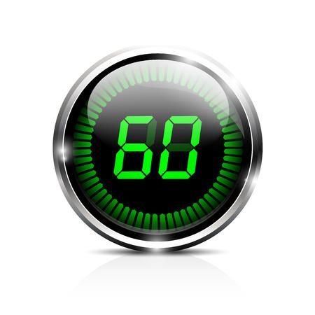華麗な電子タイマー 60 秒  イラスト・ベクター素材