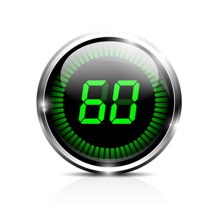electric meter: Electronic brilliant timer 60 seconds Illustration