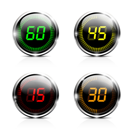digital indicator: Electronic brilliant countdown timers. EPS 10 Illustration