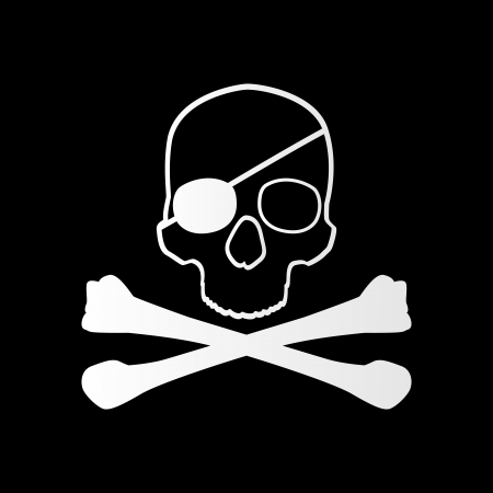 Pirate sign. Skull and bones. Jolly roger Vector