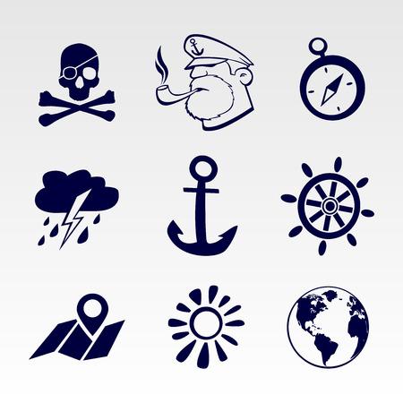 Seafaring icons set. EPS 8