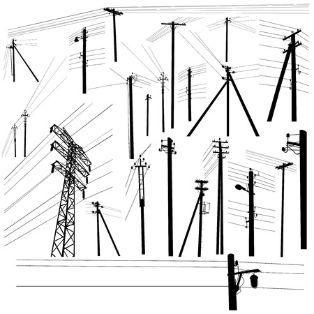 Pylon high voltage power lines silhouette set