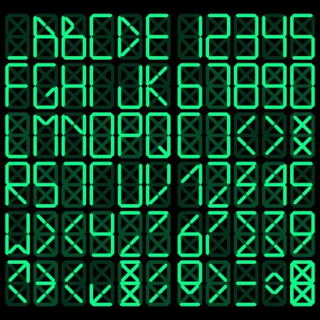 Digital alphabet - green on a black background