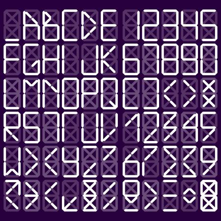 Digital alphabet - White on purple background