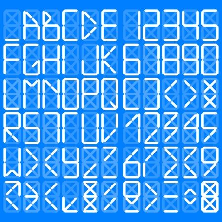 Digital alphabet - White on a blue background