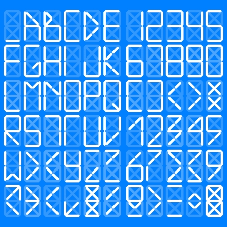 Digital alphabet - White on a blue background