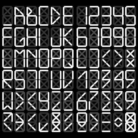Digital alphabet - White on a black background