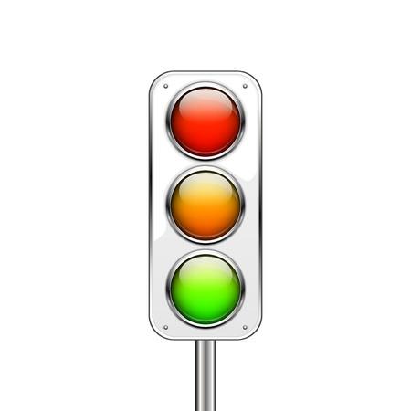 Traffic lights Isolated on white background Illustration
